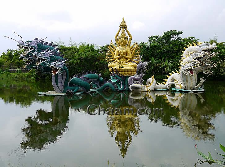 Golden Buddha protected by snakes