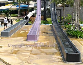 Outlet zone of the water slides in Thailand