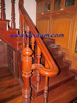 Hand carved staircase of Makamong Wood