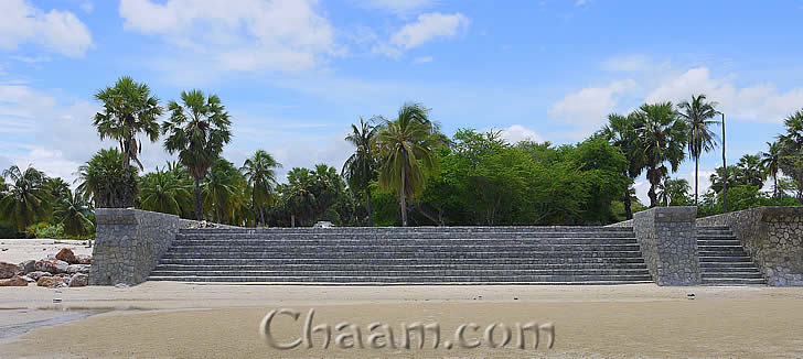 Stone stair to beach at land for sale in Cha-Am
