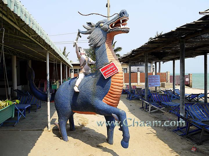 Sudsakorn is riding on a tame dragon