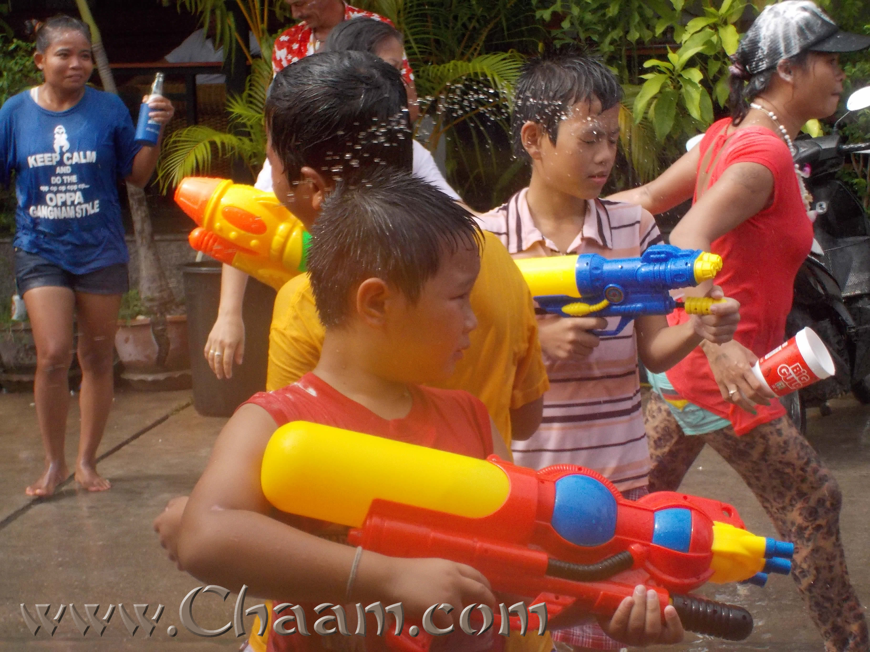 Children playing water games at Songkran