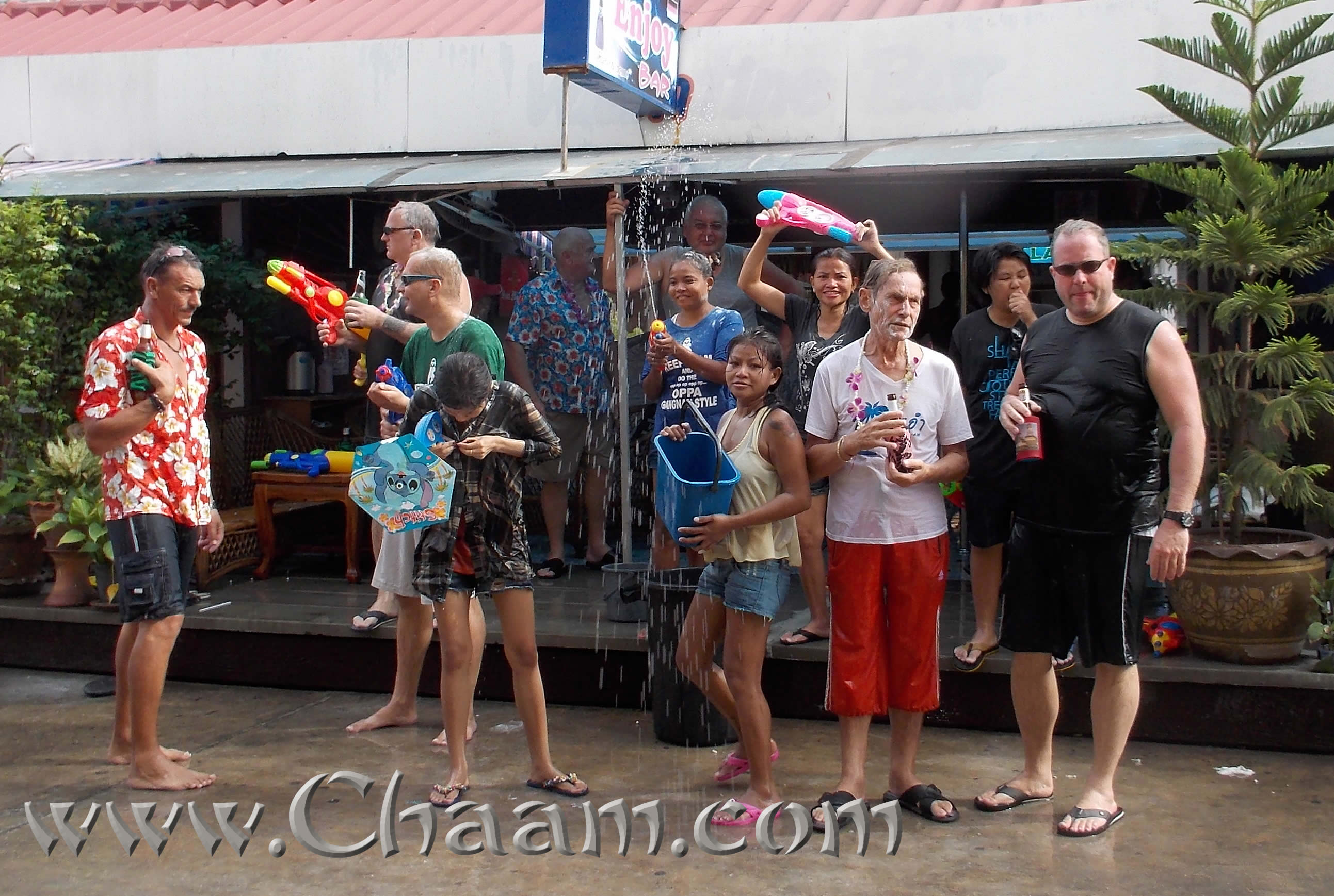 Water fights at Songkran in Cha-Am