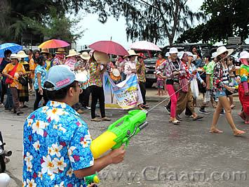 Water gun shooting in Cha-Am Thailand