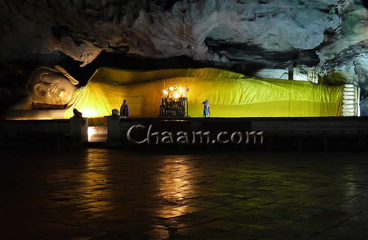 Lying Buddha in dripstone Cave Thailand
